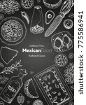 mexican food top view frame. a... | Shutterstock .eps vector #775586941