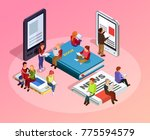 reading people isometric... | Shutterstock . vector #775594579