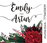 wedding vector floral invite ... | Shutterstock .eps vector #775605859