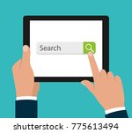 browser on the tablet screen. a ... | Shutterstock .eps vector #775613494