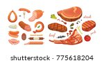 different types of meat... | Shutterstock .eps vector #775618204