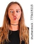 foolish teenager girl isolated... | Shutterstock . vector #775619215