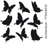 black butterfly  isolated on a... | Shutterstock .eps vector #775628515