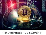 Small photo of Bitcoin in a soap bubble. Dangers and risks of investing to bitcoin, speculation. Speculative bubble