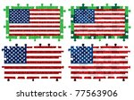 jigsaw american flags in vector ... | Shutterstock .eps vector #77563906