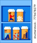 people trapped in pill bottles... | Shutterstock .eps vector #775678279