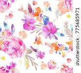 modern watercolor flower... | Shutterstock . vector #775685971
