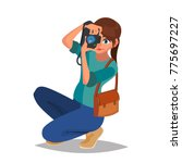 photographer woman vector.... | Shutterstock .eps vector #775697227