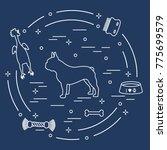 silhouette of french bulldog ... | Shutterstock .eps vector #775699579