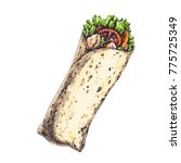 tasty wrap with tomatoes ... | Shutterstock .eps vector #775725349