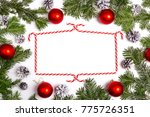 christmaswith frame from fir... | Shutterstock . vector #775726351