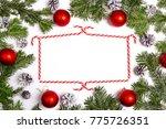 christmaswith frame from fir... | Shutterstock . vector #775726351