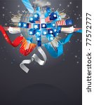 exploding sphere with american...   Shutterstock . vector #77572777