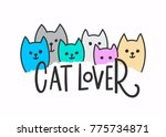 cat lover quote lettering.... | Shutterstock .eps vector #775734871