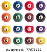 Isolated Colored Pool Balls....