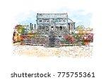 watercolor splash with hand... | Shutterstock .eps vector #775755361