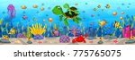 cartoon turtle underwater | Shutterstock . vector #775765075
