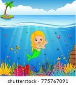 cartoon mermaid underwater | Shutterstock . vector #775767091