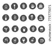 doodle beverages set   Shutterstock . vector #775775071