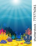 underwater scene with tropical...   Shutterstock .eps vector #775776361