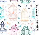 vintage bird cages pattern | Shutterstock .eps vector #775776721