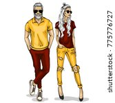vector woman and man | Shutterstock .eps vector #775776727