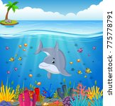cartoon dolphin under the sea | Shutterstock .eps vector #775778791