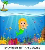 cartoon mermaid underwater | Shutterstock .eps vector #775780261