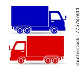 silhouette of two trucks  red... | Shutterstock .eps vector #775787611