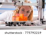 a female student or laboratory... | Shutterstock . vector #775792219