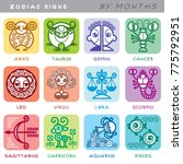 zodiac signs   set of icons of... | Shutterstock .eps vector #775792951