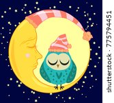 cute cartoon sleeping owl in... | Shutterstock .eps vector #775794451