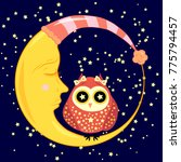 cute cartoon sleeping owl in... | Shutterstock .eps vector #775794457