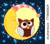 a sweet cartoon owl with eyes... | Shutterstock .eps vector #775800829