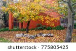 autumn landscape in a rainy day.... | Shutterstock . vector #775805425
