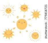 set of cute hand drawn sun... | Shutterstock . vector #775818721