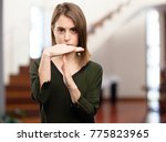 angry young pretty woman time... | Shutterstock . vector #775823965