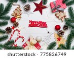 christmas frame with candy and... | Shutterstock . vector #775826749