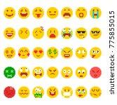 pixel emoji set. funny faces... | Shutterstock .eps vector #775855015