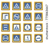 road sign set icons set in blue ... | Shutterstock . vector #775863667