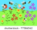 bumblebees flies to collect... | Shutterstock .eps vector #77586562