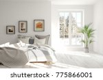 white bedroom with winter... | Shutterstock . vector #775866001