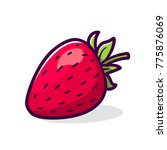 strawberry with green leaves... | Shutterstock . vector #775876069