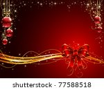 Background With Red Bow And...