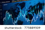 Small photo of Trading binary option on screen, web interface with financial statistics, prices