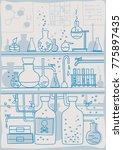 chemistry laboratory experiment ... | Shutterstock .eps vector #775897435