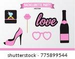 set of hen party banners  props ... | Shutterstock .eps vector #775899544