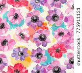 floral seamless pattern with... | Shutterstock . vector #775911121