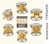 hand drawn new year 2018 badges | Shutterstock .eps vector #775916554