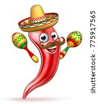 a cartoon spicy red pepper... | Shutterstock . vector #775917565